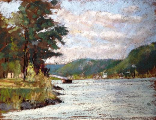 Blick auf Rolandseck, Plein Air, 24 x 30 cm, auf Sennelier Pastel-Card