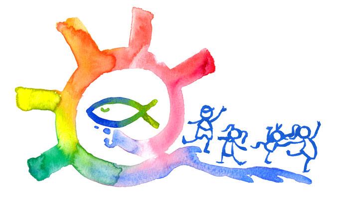 Logo Illustration und Design für Evangelische Kindertagesstätte. Aquarell