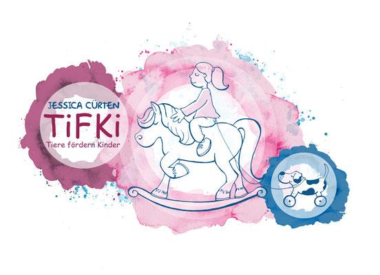 Illustration & Logodesign Tiergestützte Intervention (Aquarell & Fineliner)