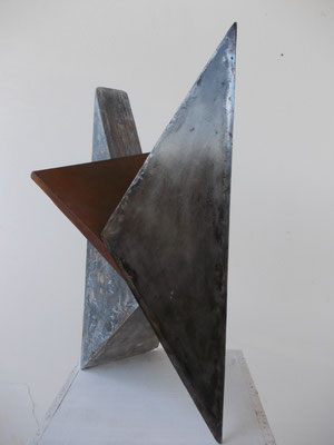 Triad, Dreiklang, steel, copper, wood  H 49 cm