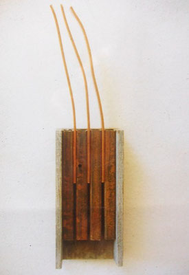 3x4, Stahl steel Kupfer copper Holz wood 1997 fixed on the wall