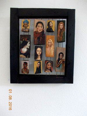 Frauen der Welt, 50 x 60 x 6 cm, 2016, Holzobjekt , Ölmalerei
