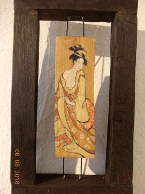 Japanische Frau, 20 x 40 x 5 cm, 2016, Holzobjekt, Ölmalerei -  verkauft / sold