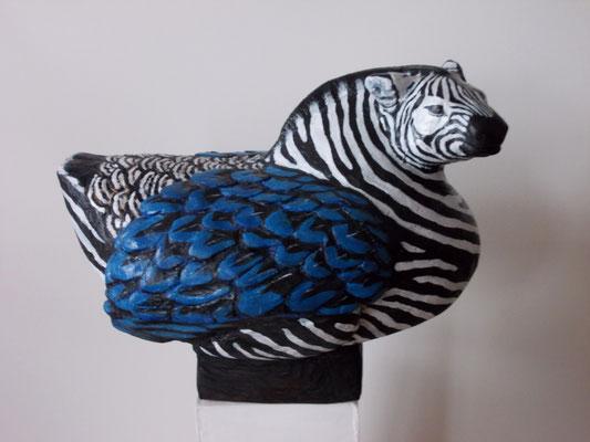 """Zebravogel"" Holzskulptur / wood sculpture, bemalt / painted, H30 x B 40 cm"