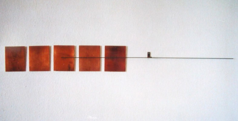 5+ , steel copper  6 parts , 1999  L 107cm fixed on the wall