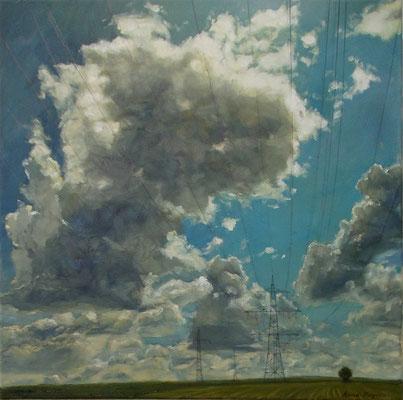Strom, 2016, 50 x 50 cm,  Öl auf Leinwand