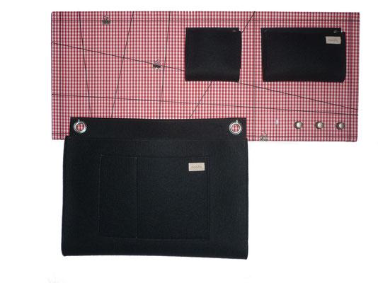 Schlüsselboard rot schwarz mit Posttasche