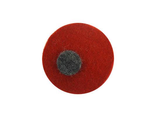 Magnet rund rot / grau-meliert