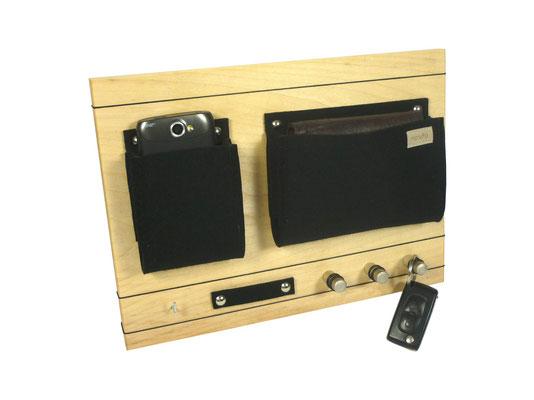 Schlüsselboard Holz schwarze Filztasche