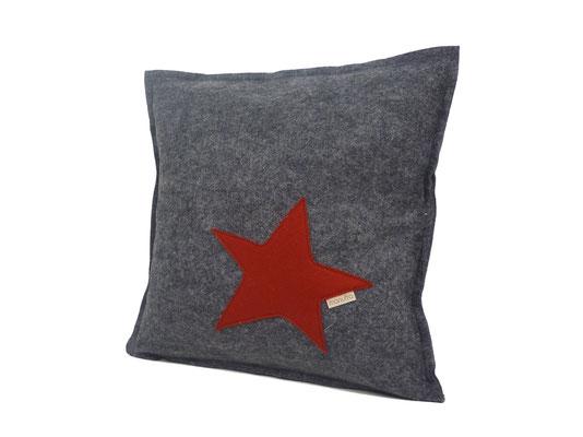 manufra Sofakissen / Zierkissen mit Stern 30 x 30 cm grau-meliert / rot
