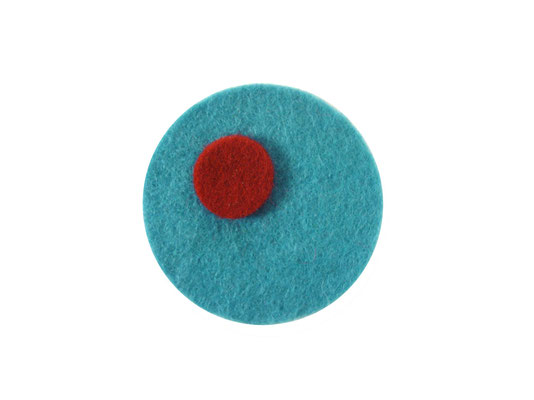 Magnet rund türkis / rot