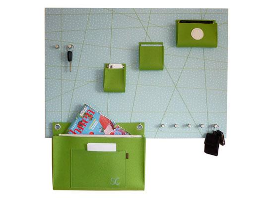 Schlüsselboard groß türkis grün mit Posttasche