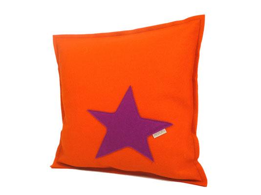 manufra Sofakissen / Zierkissen mit Stern 30 x 30 cm orange / pink
