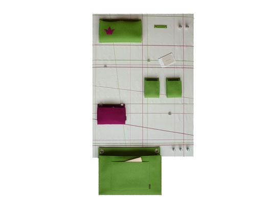 Schlüsselboard groß Wildseide weiß grün pink
