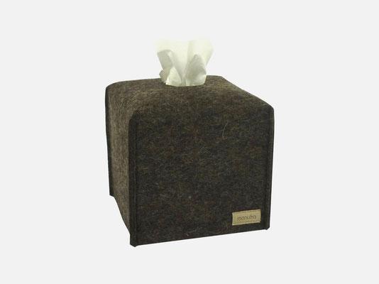 Kosmetiktuchbox Würfel braun-meliert