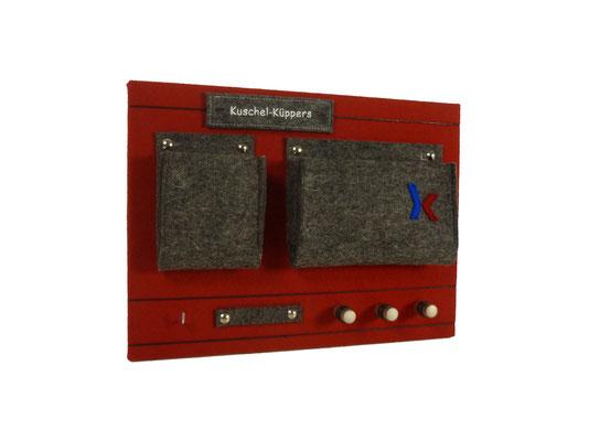 Schlüsselboard rot grau mit Stick