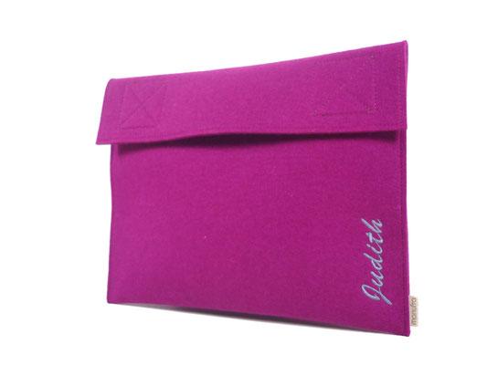 Tablettasche bestickt pink