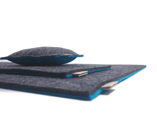 Schreibtischunterlage grau türkis