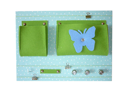 Schlüsselboard türkis grün mit Schmetterling