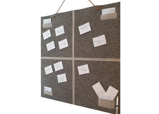 manufra Eisenhower Pin Board Matrix mittelgrau-meliert schräg