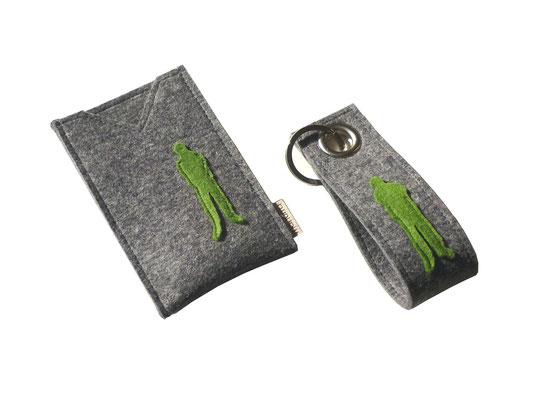 Handytasche und Schlüsselanhänger grau