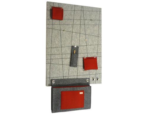 Schlüsselboard hellgrau-meliert rot grau-meliert