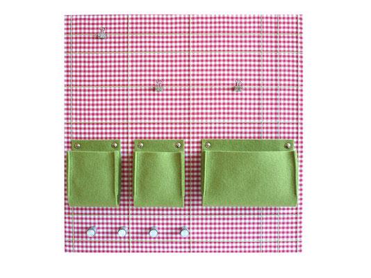 Schlüsselboard quedratisch Karomuster rosa grün