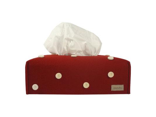 Taschentücherbox manufra rot mit weißen Punkten