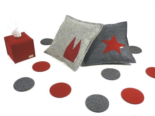 Kissen grau mit Stern rot