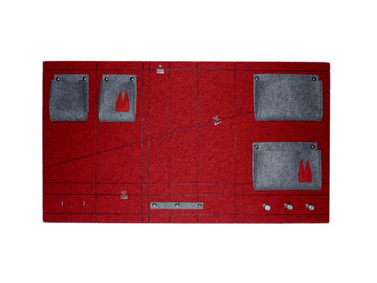 Schlüsselboard rot grau