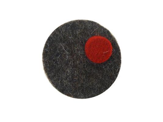 Magnet rund grau-meliert / rot