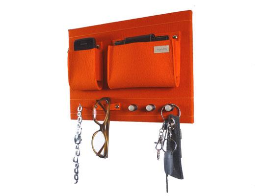 Schlüsselboard orange mit Deko