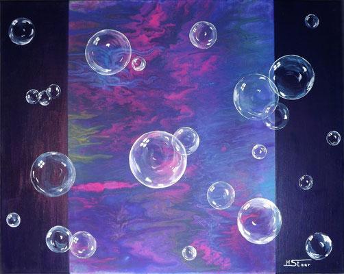 Seifenblasen - Leichtigkeit, 50 x 40 cm, Acryl auf Leinwand