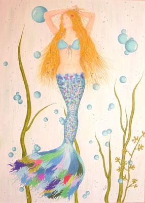 Nixe Lariena - 50 x 70 cm, Wachsstift /Pastellkreide