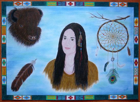 Indianerin mit Büffel u.Traumfänger - 70 x 50 cm, Wachsstift /Pastellkreide