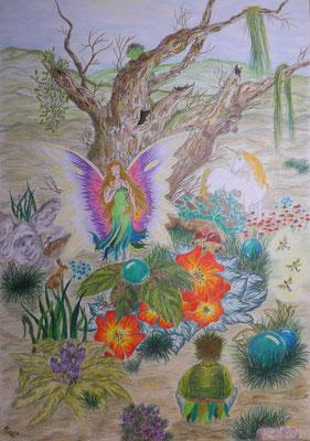 Elfenbaum - 29,5 x 42 cm, Wachsstift