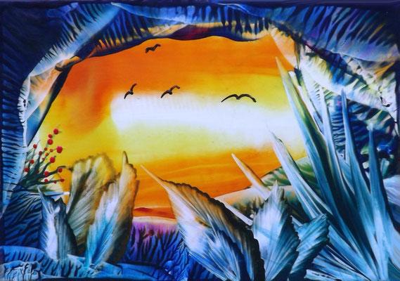 Sonnenuntergang - 14 ,8 - 10,5 cm, Wachs