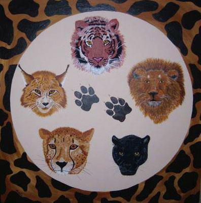 Wildkatzen, 60 x 60 cm, Acryl auf Leinwand