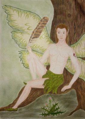 Elas - 50 x 70 cm, Wachsstift /Pastellkreide
