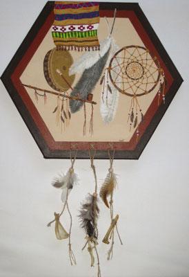 Indian spirit - 40 Ø cm, Acryl auf Leinwand, (nicht mehr verfügbar)