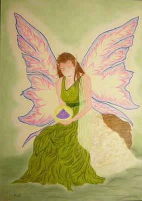 Anaya - 50 x 70 cm, Wachsstift /Pastellkreide