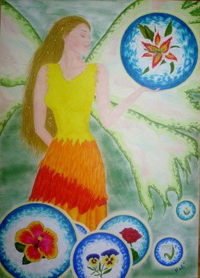 Ilaya mit Blütenkugeln - 50 x 70 cm, Wachsstift /Pastellkreide