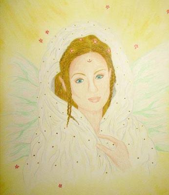 Elfenpriesterin Kahina - 50 x 70 cm, Wachsstift /Pastellkreide