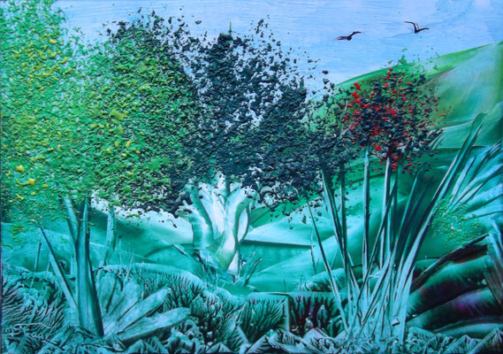 Landschaft 1 - 21 x 15 cm, Wachs