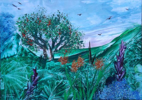 Landschaft 2 - 29,8 x 21 cm, Wachs