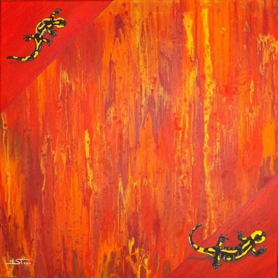 Element Feuer - 50 x 50 cm, Acryl auf Leinwand