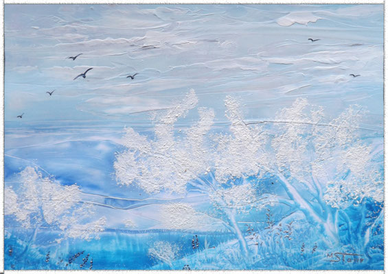 Winterlandschaft - 29,8 x 21 cm, Wachs