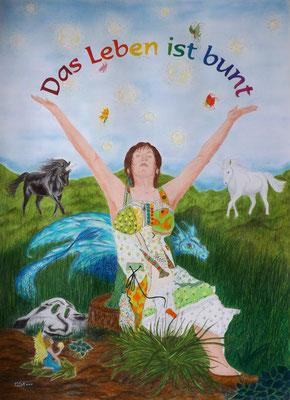"""""""Das Leben ist bunt"""" Selbstbildnis - 50 x 70 cm, Wachsstift /Pastellkreide"""