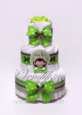 """Торт из памперсов для новорожденного мальчика """"Обезьянка"""""""
