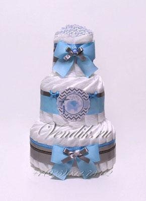 """Торт из памперсов для новорожденного мальчика """"Голубой слонёнок"""""""